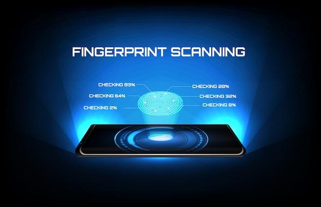Abstrato de tecnologia futurista telefone móvel inteligente com verificação de identidade de digitalização de impressão digital