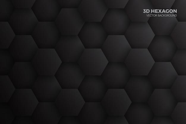 Abstrato de tecnologia preto hexágonos 3d