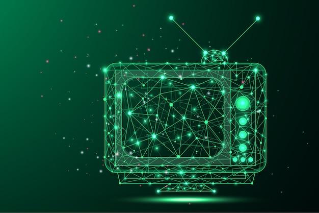 Abstrato de uma tv retrô - armação de arame poligonal baixa