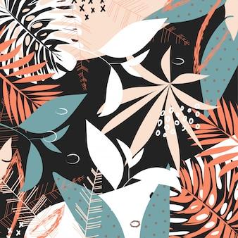 Abstrato de verão com folhas e plantas tropicais brilhantes
