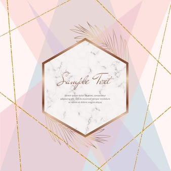 Abstrato desenho geométrico com linhas de glitter rosa pastel, azul, roxo e dourado e moldura de mármore