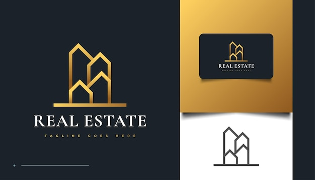 Abstrato design de logotipo de ouro imobiliário com estilo de linha. construção, arquitetura ou design de logotipo de construção