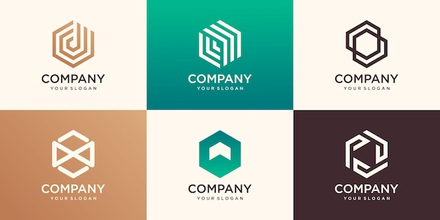 Abstrato design de logotipo hexágono com conceito de faixa, modelo de logotipo de negócios de empresa moderna