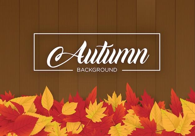 Abstrato design de modelo de plano de fundo de outono com maple leafs