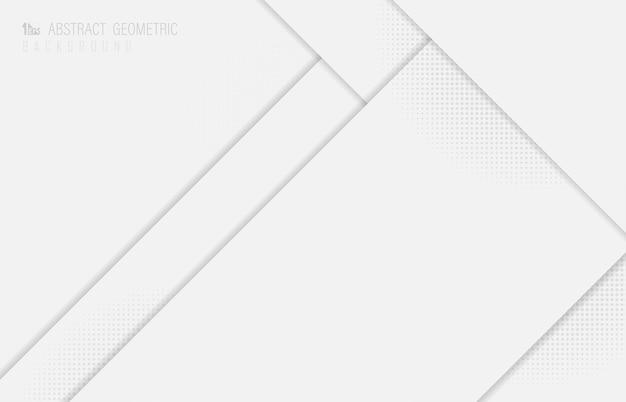 Abstrato design de sobreposição branco de papel cortado com fundo de design de meio-tom. ilustração vetorial
