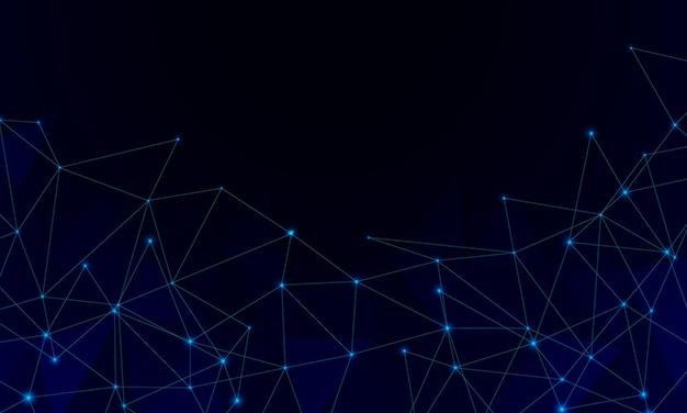 Abstrato digital futurista com pontos de partículas conectados com fundo de plexo de polígonos