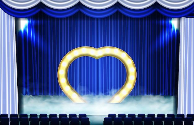 Abstrato do símbolo do coração no palco e assento