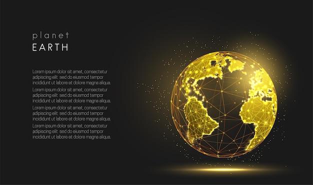 Abstrato dourado planeta terra mapa mundial visualização do espaço design de estilo low poly vetor de estrutura de arame