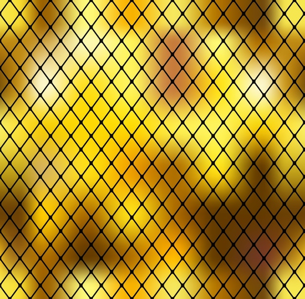 Abstrato dourado sem costura com grade preta