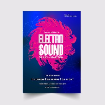 Abstrato electro sound poster ou design de panfleto nas cores azul e rosa.