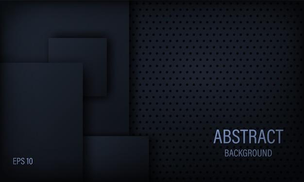 Abstrato elegante em preto e azul com elementos quadrados.