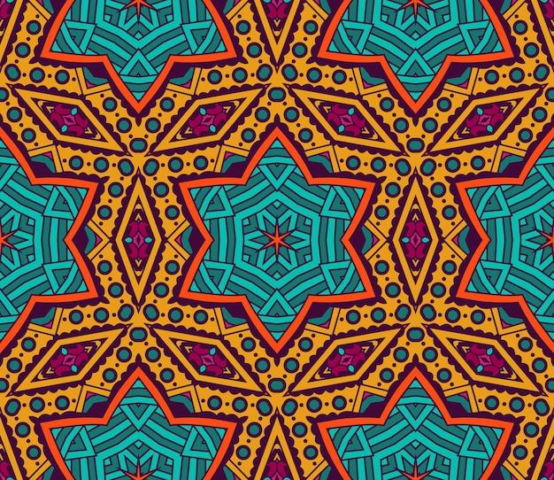 Abstrato étnico com azulejos geométricos sem costura estrela padrão ornamental