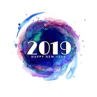 Abstrato feliz ano novo 2019 colorido fundo aquarela