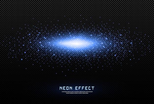 Abstrato festivo feito de pequenas partículas de poeira de néon. luz neon. explosão de pó cintilante. explosão espacial. a luz brilhante é aplicável ao design de jogos, vários banners, pôsteres.