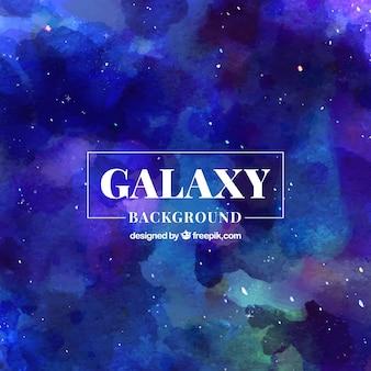 Abstrato, fundo azul da galáxia da aguarela
