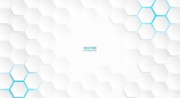 Abstrato. fundo branco do hexágono, luz azul e sombra. vetor.