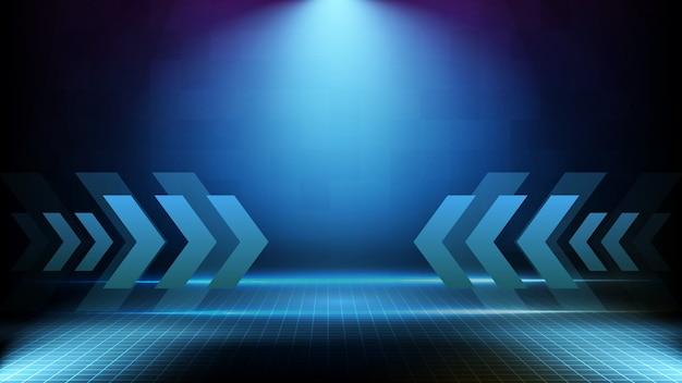 Abstrato futurista da tecnologia de seta para a frente de corrida azul