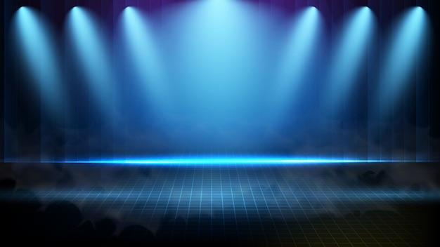 Abstrato futurista de tecnologia azul iluminação spotlgiht fundo de palco com fumaça