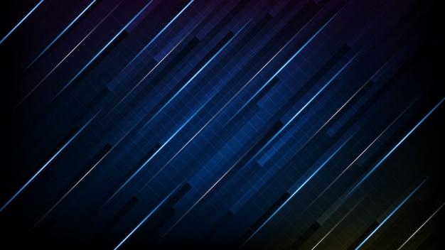 Abstrato futurista de tecnologia de quadro de interface de linha de movimento azul e preto brilhante