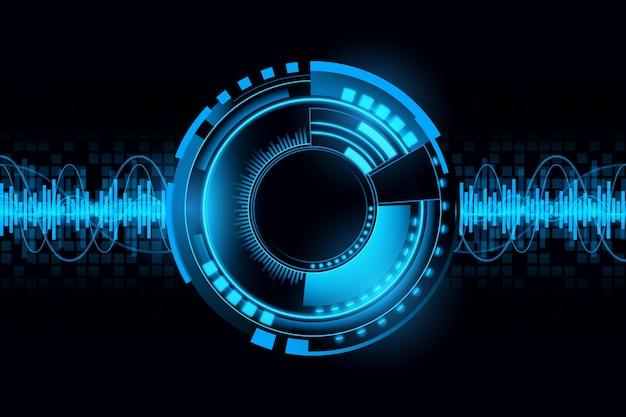 Abstrato futurista fundo de tecnologia de circuito de som de onda