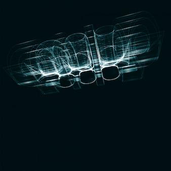 Abstrato futurista, ilustração de tecnologia escura, conceito de arte