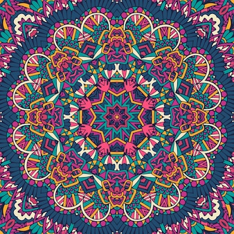 Abstrato geométrico com azulejos boho étnico padrão sem emenda ornamental.