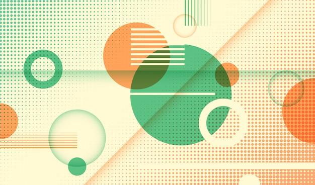 Abstrato geométrico com círculos e vários padrões.