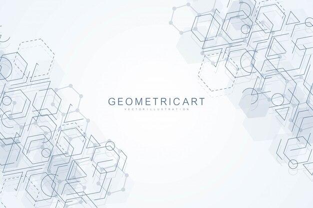 Abstrato geométrico com linha conectada e pontos. molécula de estrutura e comunicação. visualização de big data. médico, tecnologia, fundo de ciência.