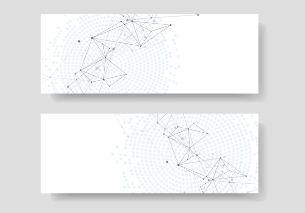Abstrato geométrico com linhas conectadas e pontos. capa de banner de tecnologia