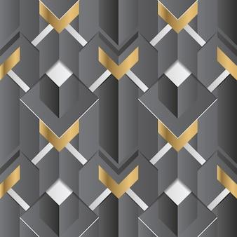 Abstrato geométrico decoração listras preto e dourado sem costura padrão