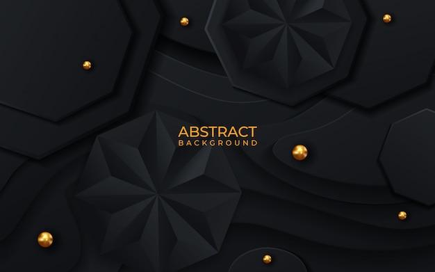 Abstrato geométrico ilustração em vetor 3d. formas de hex e pirâmide preto.