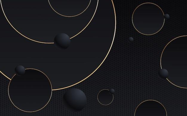 Abstrato geométrico linha preta e dourada