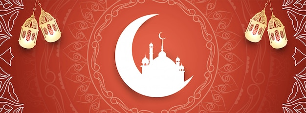 Abstrato islâmico eid mubarak belo banner design