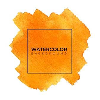 Abstrato laranja aquarela, pintura à mão. cor espirrando no papel branco