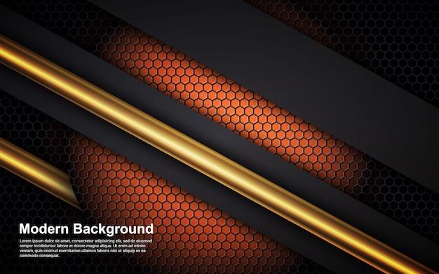 Abstrato linha dourada e cor preta na dimensão laranja moderna