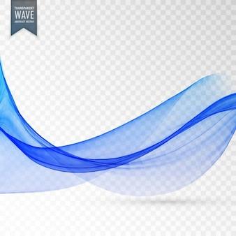 Abstrato liso onda azul no fundo transparente