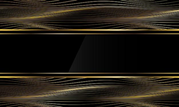 Abstrato luxo bandeira preta ouro linha fina onda curva fundo papel de parede ilustração vetorial.