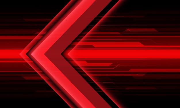 Abstrato luz de seta vermelha direção de circuito cibernético projeto geométrico futurista tecnologia de fundo