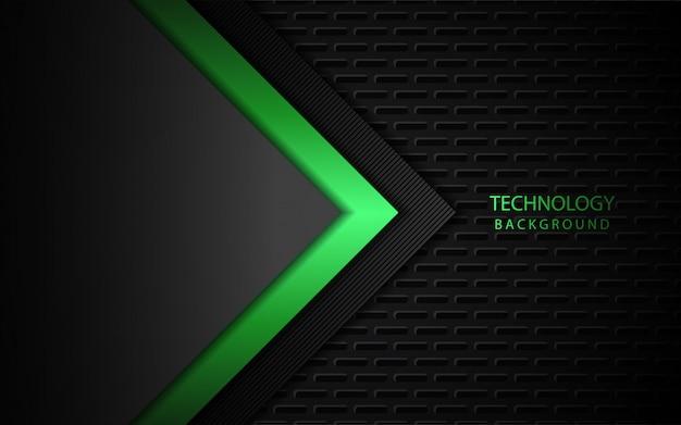 Abstrato luz verde sobre fundo escuro de formas de metal