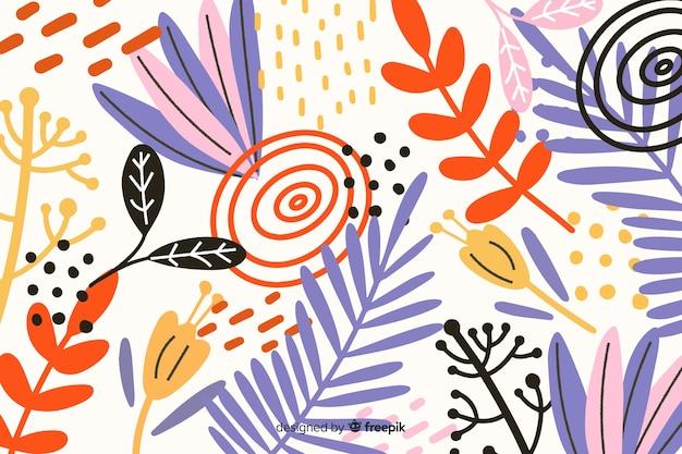 Abstrato mão desenhada fundo tropical