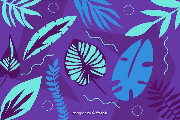 Abstrato mão desenhada tropical deixa fundo