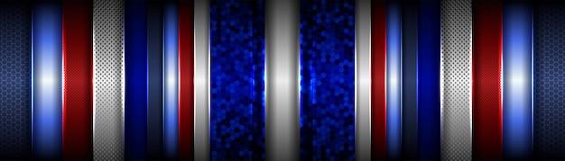 Abstrato metálico geométrico vermelho clássico sobre fundo azul escuro