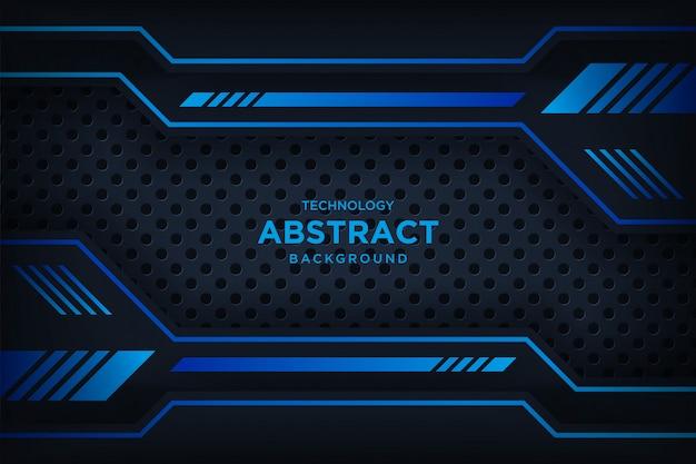 Abstrato metálico preto azul moldura layout tecnologia moderna
