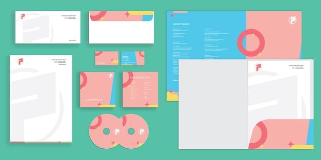 Abstrato minimalista colorido cores suaves identidade corporativa moderna estacionária