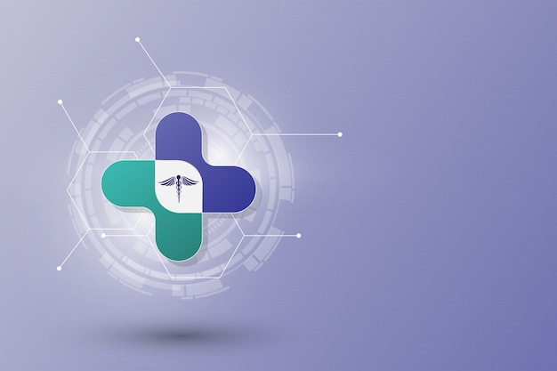 Abstrato modelo de conceito de inovação de cuidados de saúde