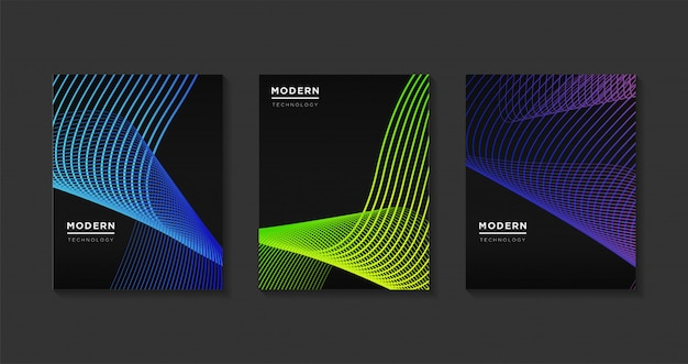 Abstrato moderno abrange o modelo de design. gradientes de linha de arte futurista