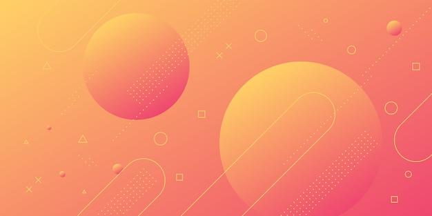 Abstrato moderno com elementos de memphis em gradientes de vermelhos e laranja e retrô com temas para cartazes, banners e páginas de destino do site.