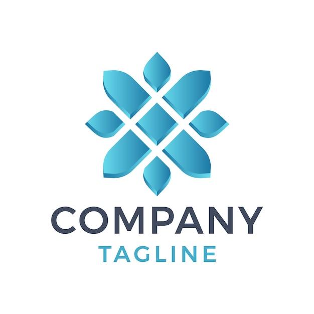 Abstrato moderno flor letra x 3d design de logotipo gradiente azul claro