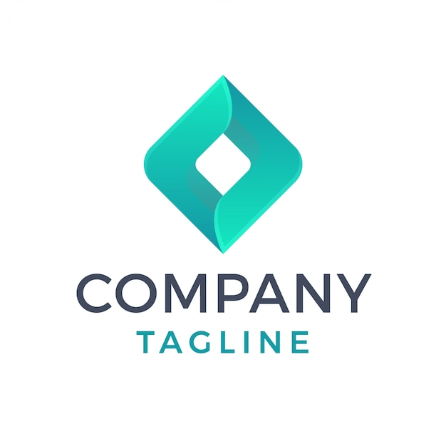Abstrato moderno logotipo elegante gradiente de diamante 3d