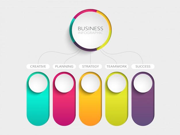 Abstrato moderno modelo infográfico 3d com cinco etapas para o sucesso